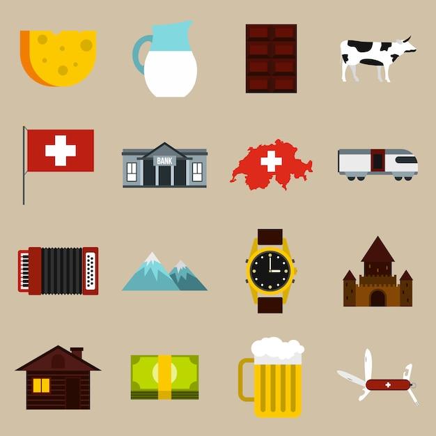 Conjunto de ícones da suíça Vetor Premium
