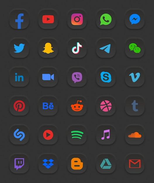 Conjunto de ícones da web 3d modernos de mídia social Vetor Premium