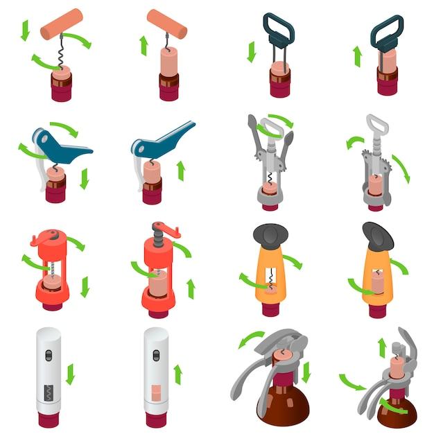 Conjunto de ícones de abridor de vinho saca-rolhas Vetor Premium