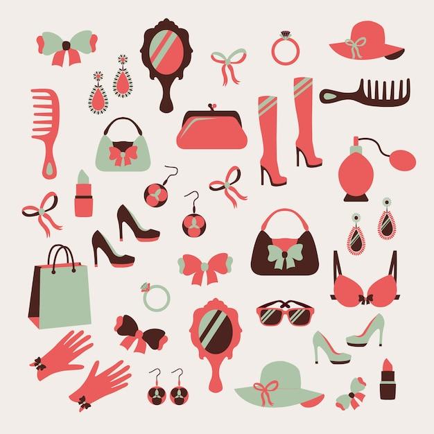 Conjunto de ícones de acessórios de mulher Vetor grátis