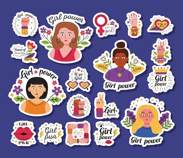 Conjunto de ícones de adesivos de poder feminino de ilustração do tema de direitos e feminismo feminino com empoderamento da mulher Vetor Premium