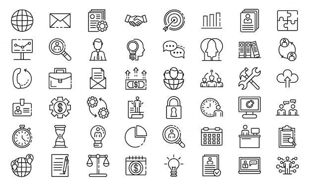 Conjunto de ícones de administrador, estilo de estrutura de tópicos Vetor Premium