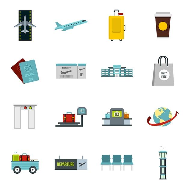 Conjunto de ícones de aeroporto em estilo simples Vetor Premium