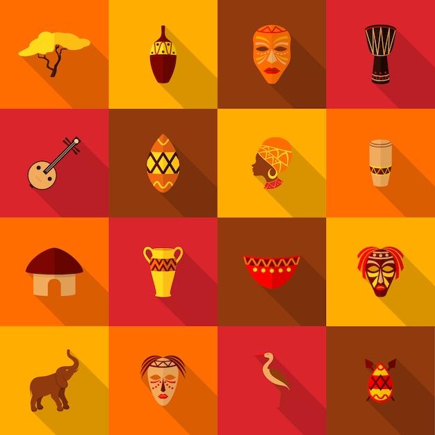 Conjunto de ícones de áfrica planas Vetor Premium