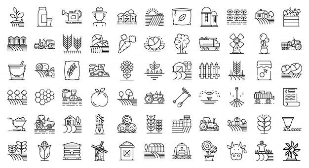 Conjunto de ícones de agricultor, estilo de estrutura de tópicos Vetor Premium