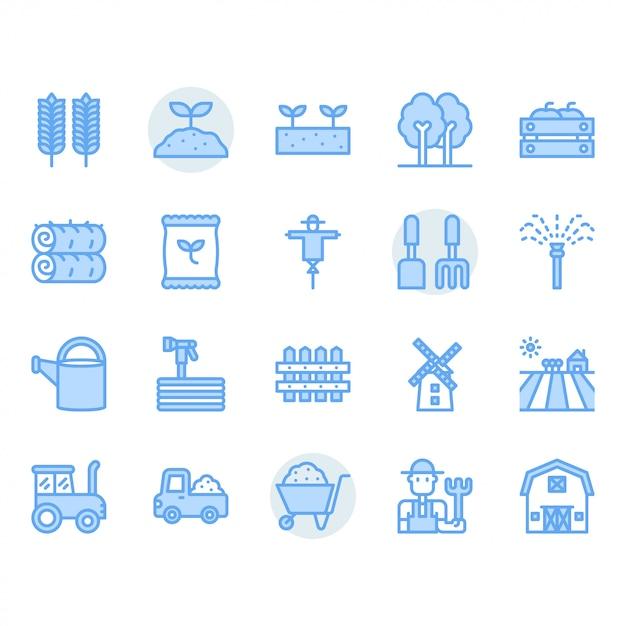 Conjunto de ícones de agricultura e agricultura Vetor Premium
