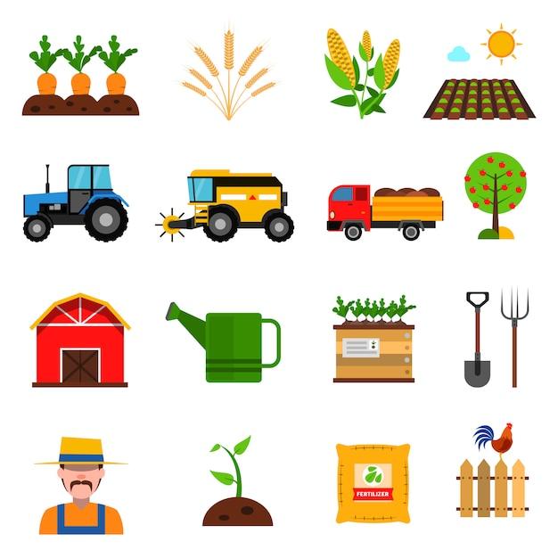 Conjunto de ícones de agricultura Vetor grátis