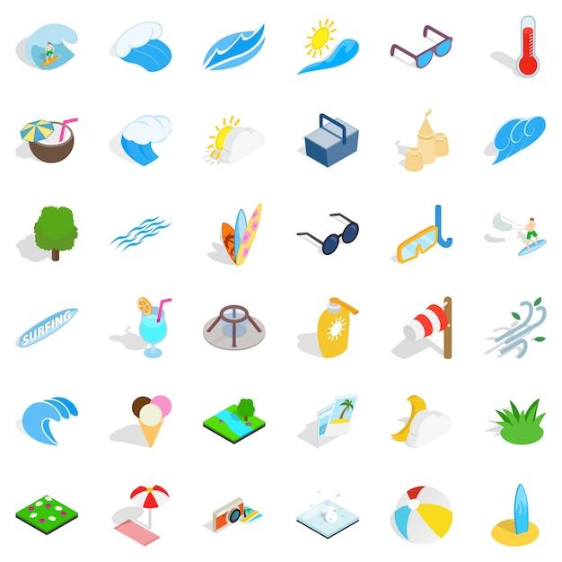 Conjunto de ícones de água limpa, estilo isométrico Vetor Premium