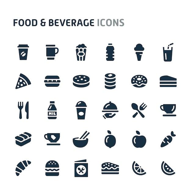 Conjunto de ícones de alimentos e bebidas. série de ícone preto fillio. Vetor Premium