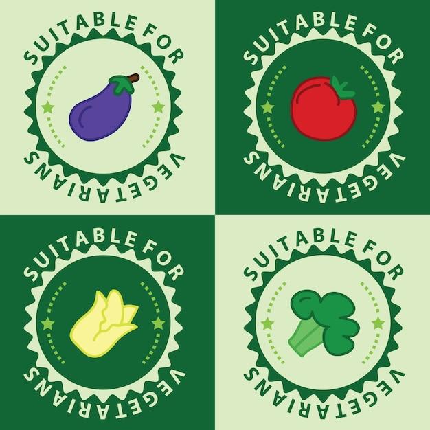 Conjunto de ícones de alimentos vegetarianos, ícones amigáveis aos veganos, emblemas, selos e emblemas Vetor Premium