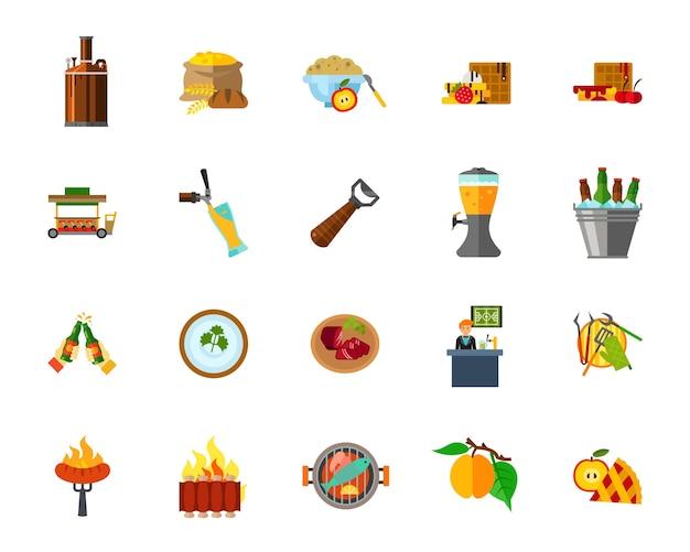 Conjunto de ícones de alimentos Vetor grátis