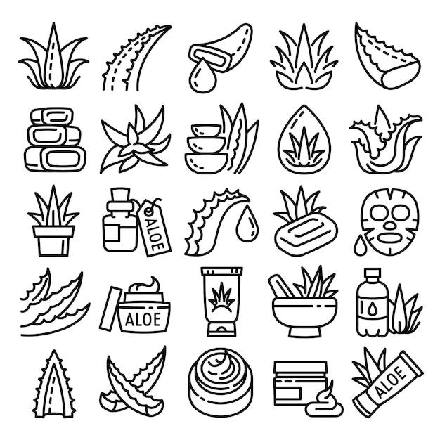 Conjunto de ícones de aloe, estilo de estrutura de tópicos Vetor Premium