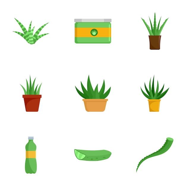 Conjunto de ícones de aloe vera. conjunto plano de 9 ícones de aloe vera Vetor Premium