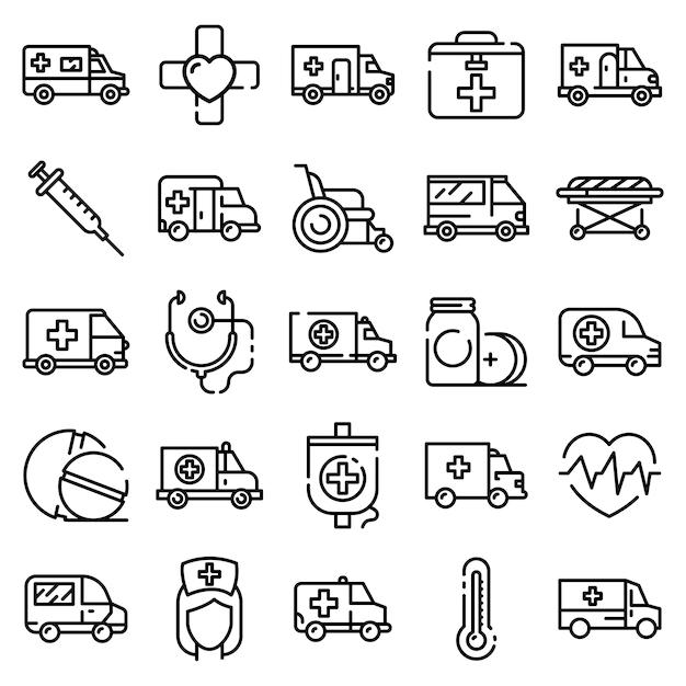 Conjunto de ícones de ambulância, estilo de estrutura de tópicos Vetor Premium
