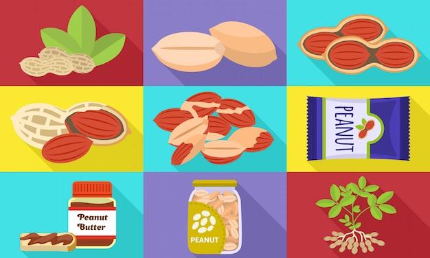 Conjunto de ícones de amendoim. conjunto plano de vetor de amendoim Vetor Premium