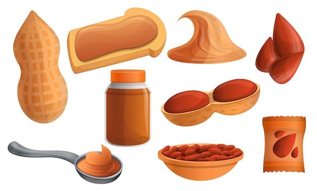 Conjunto de ícones de amendoim, estilo cartoon Vetor Premium