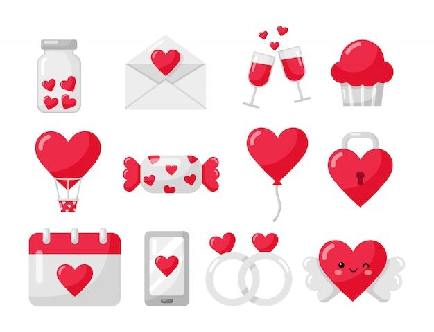 Conjunto de ícones de amor e dia dos namorados isolado no branco Vetor Premium