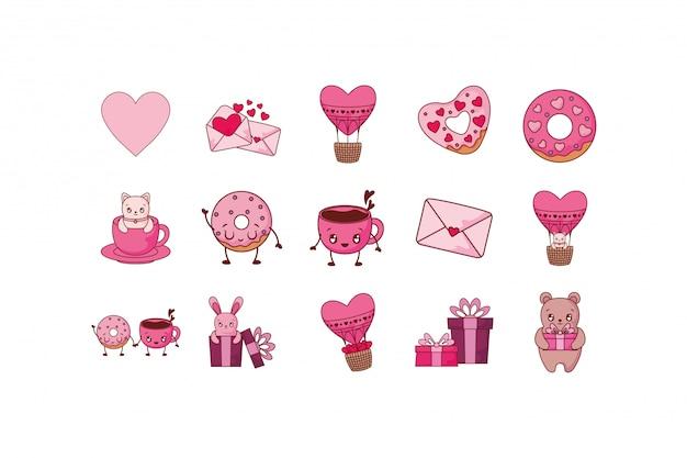 Conjunto de ícones de amor e dia dos namorados Vetor Premium