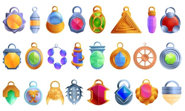 Conjunto de ícones de amuleto, estilo cartoon Vetor Premium
