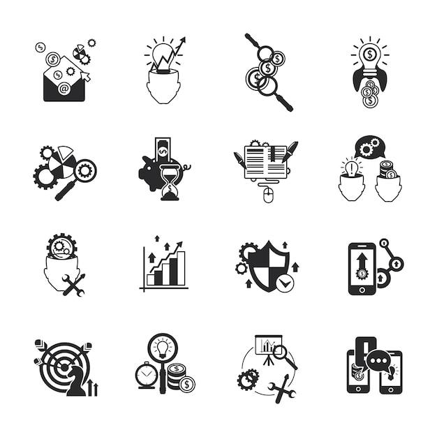Conjunto de ícones de análise de negócios preto Vetor Premium