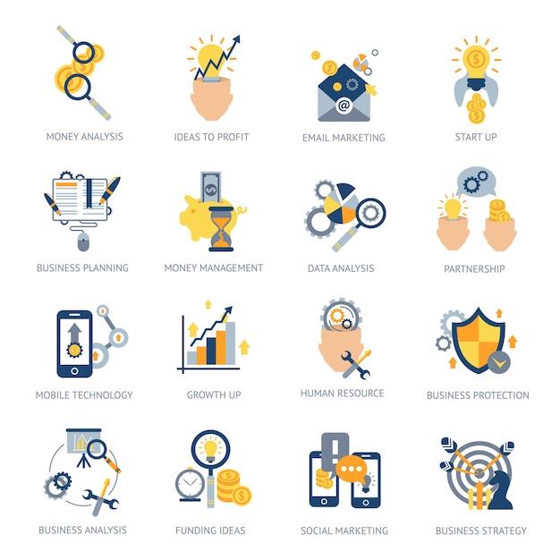 Conjunto de ícones de análise de negócios Vetor grátis