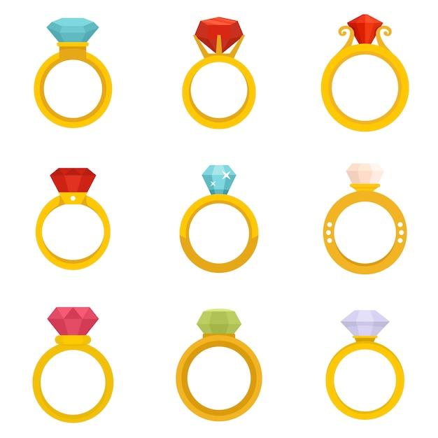 Conjunto de ícones de anel de diamante Vetor Premium