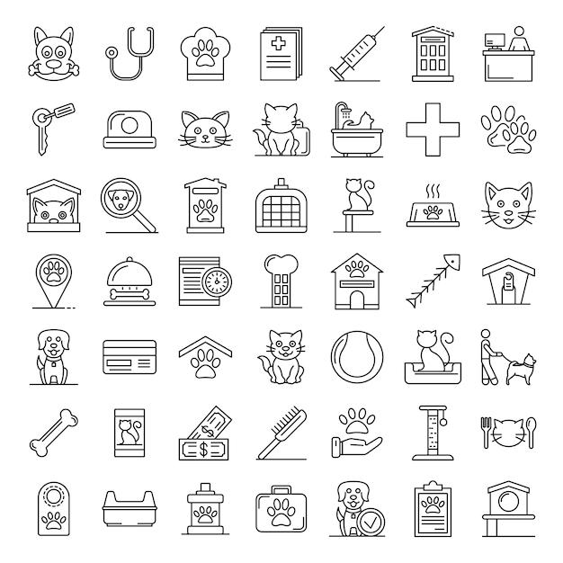 Conjunto de ícones de animais de estimação, estilo de estrutura de tópicos Vetor Premium