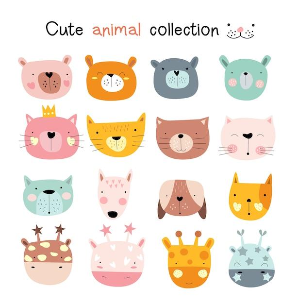 Conjunto de ícones de animais dos desenhos animados Vetor Premium