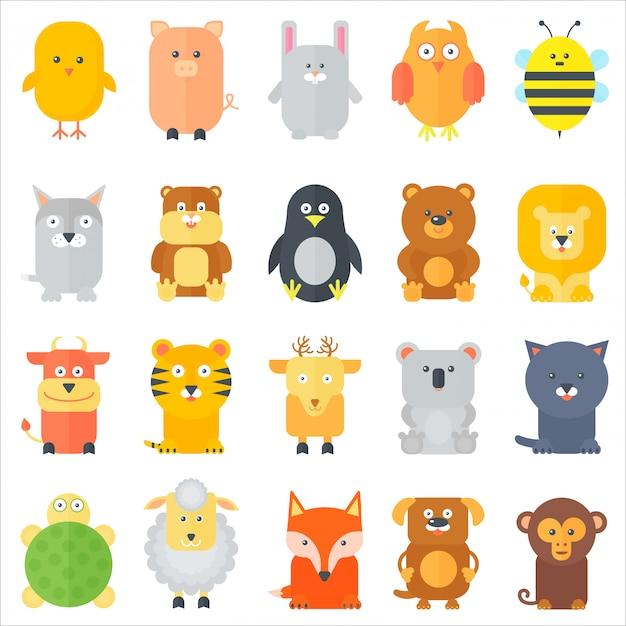 Conjunto de ícones de animais plana dos desenhos animados Vetor Premium