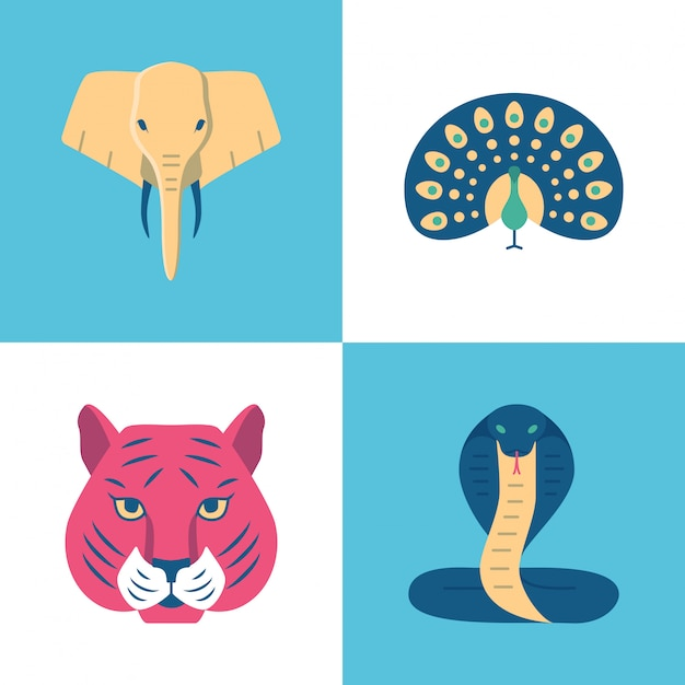 Conjunto de ícones de animais sagrados de índia Vetor Premium