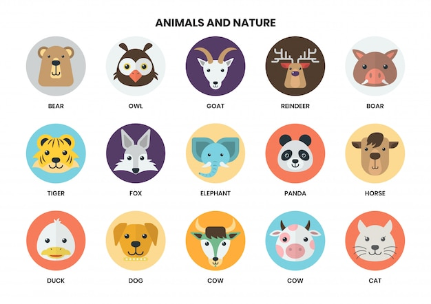 Conjunto de ícones de animais Vetor Premium