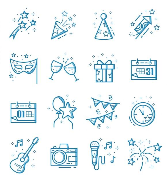 Conjunto de ícones de ano novo com estilo de estrutura de tópicos Vetor Premium