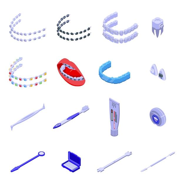 Conjunto de ícones de aparelho dentário. conjunto isométrico de ícones de aparelho dentário para web isolado no fundo branco Vetor Premium
