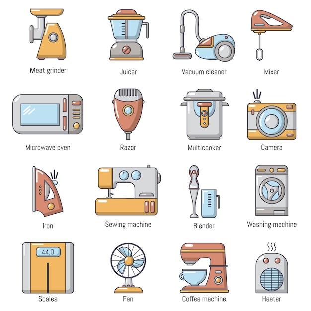 Conjunto de ícones de aparelhos domésticos Vetor Premium