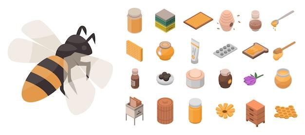 Conjunto de ícones de apiário. isométrico conjunto de ícones de vetor apiário para web design isolado no fundo branco Vetor Premium