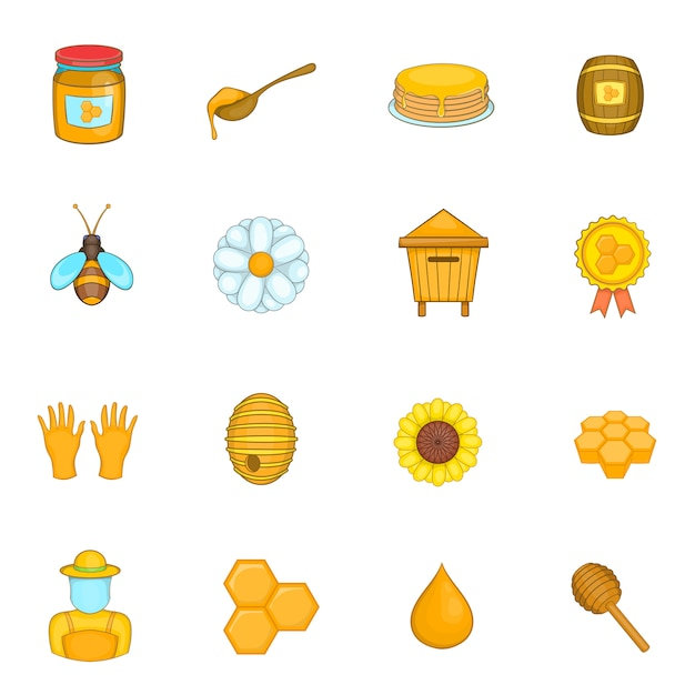 Conjunto de ícones de apiário Vetor Premium