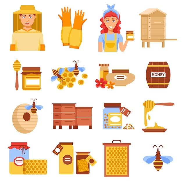 Conjunto de ícones de apicultura de mel Vetor grátis