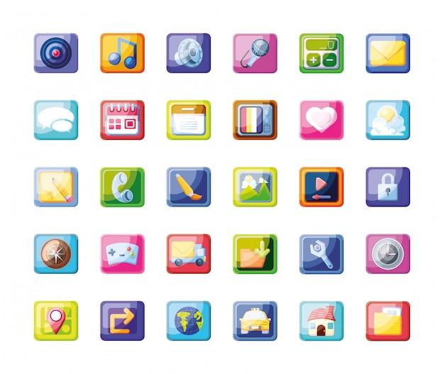 Conjunto de ícones de aplicativo móvel Vetor Premium