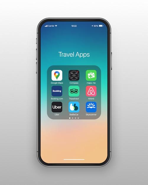 Conjunto de ícones de aplicativos de viagens de pasta smartphone Vetor Premium