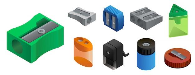 Conjunto de ícones de apontador, estilo isométrico Vetor Premium