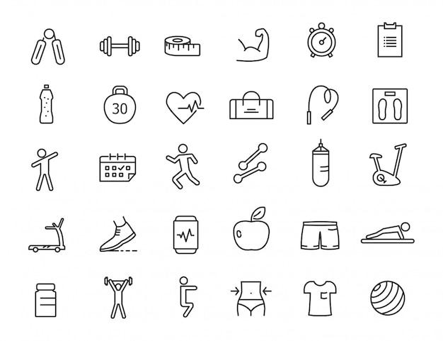 Conjunto de ícones de aptidão linear. ícones de ginásio em design simples. Vetor Premium