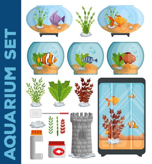 Conjunto de ícones de aquários bonitos Vetor Premium