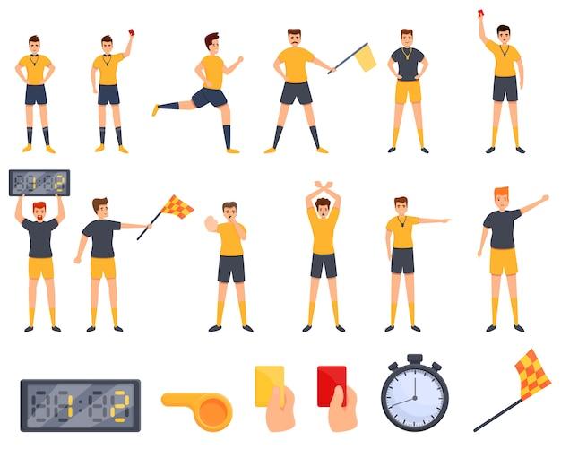 Conjunto de ícones de árbitro. conjunto de desenhos animados de ícones vetoriais de árbitro Vetor Premium
