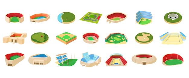 Conjunto de ícones de arena esportiva Vetor Premium