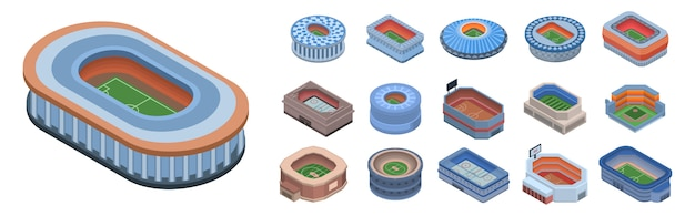 Conjunto de ícones de arena. isométrico conjunto de ícones de vetor de arena para web design isolado no fundo branco Vetor Premium