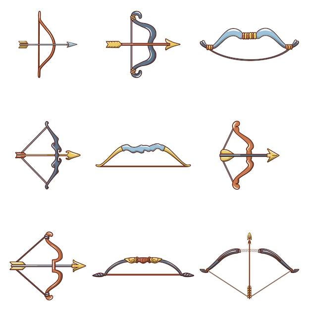 Conjunto de ícones de arma de seta de arco Vetor Premium
