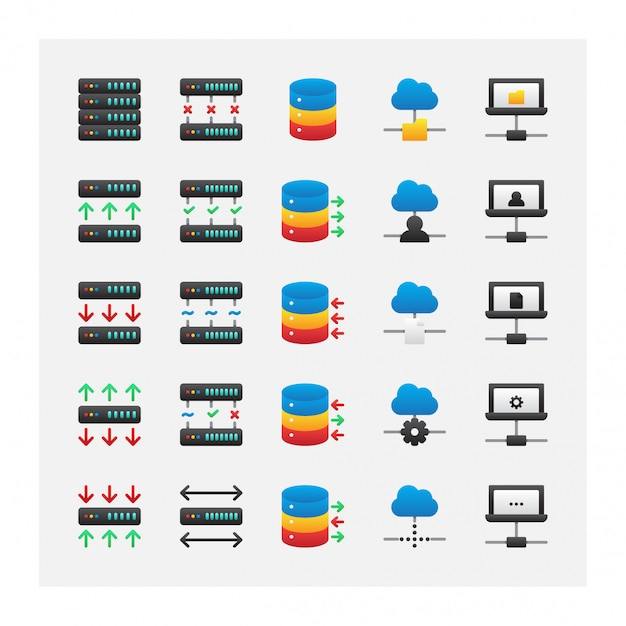 Conjunto de ícones de armazenamento de servidor inteligente de nuvem vector coleção Vetor Premium