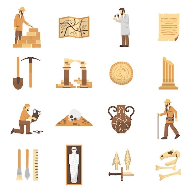 Conjunto de ícones de arqueologia Vetor grátis