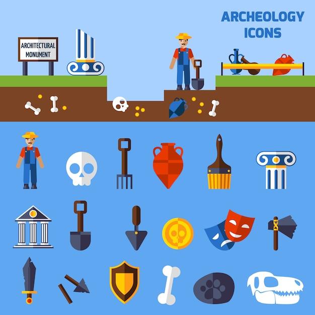 Conjunto de ícones de arqueologia Vetor Premium