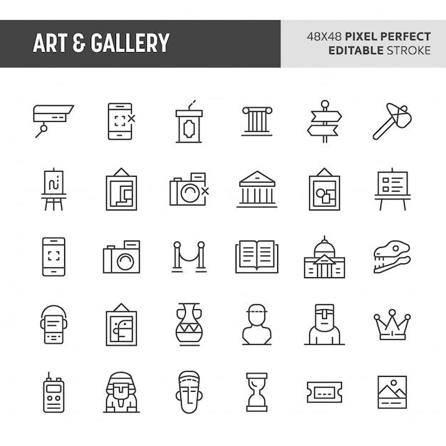 Conjunto de ícones de arte e galeria Vetor Premium
